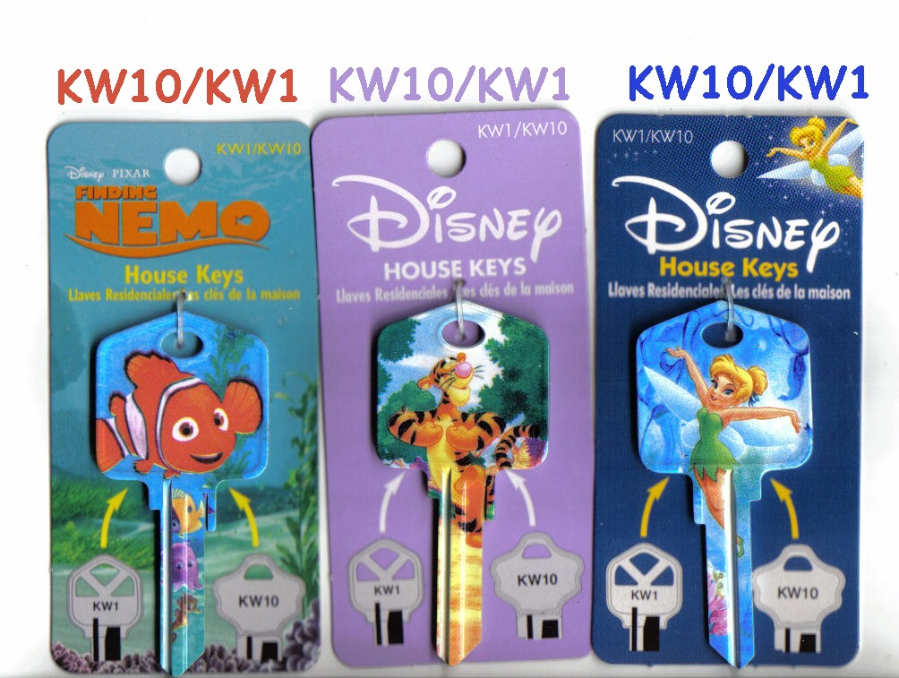 Official Disney Nemo, Tigger and Tinkerbell keys offered by J.J.'s Locksmth Service, Gainesville, Fl.